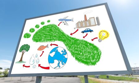 carbon footprint: Carbon footprint concept drawn on a billboard