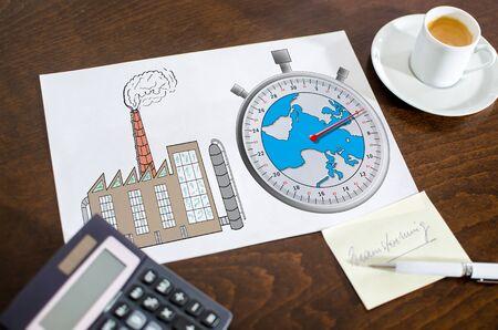 change concept: Climate change concept on a paper placed on a desk