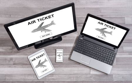 booking: Air ticket booking concept shown on different information technology devices
