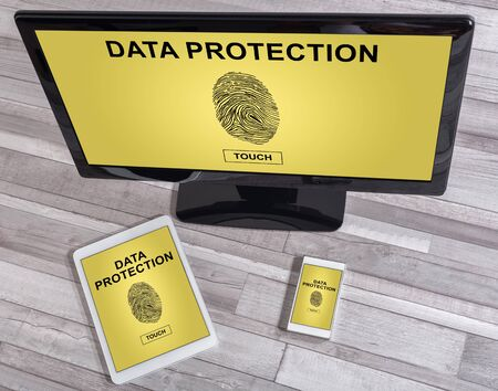 protection devices: Data protection concept shown on different information technology devices