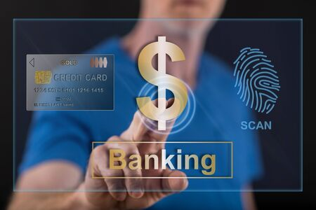 Man touching a banking security concept on a touch screen with his finger