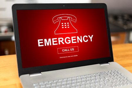 Laptop screen with emergency concept Stock Photo