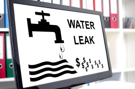 water: Water leak concept shown on a computer screen