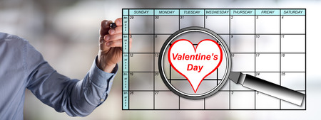enlarged: Valentines day on planner enlarged by a magnifying glass