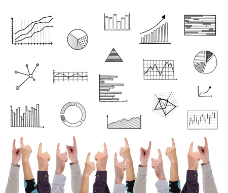 graphical: Graphical analysis concept on white background pointed by several fingers