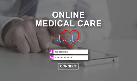 username: Online medical care concept illustrated by a picture on background Stock Photo