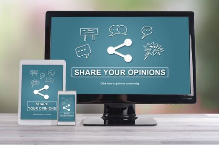 opinions: Opinions sharing concept shown on different information technology devices Stock Photo