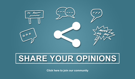 opinions: Concept of opinions sharing, illustration