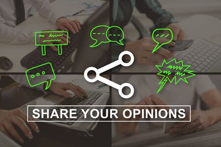 opinions: Opinions sharing concept illustrated by a picture on background