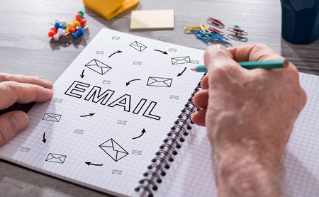 envelope: Hand drawing email concept on a notepad