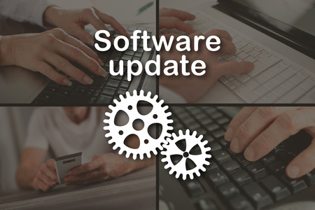 updating: Software update concept illustrated by a picture on background