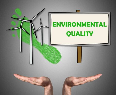 Open hands sustaining environmental quality concept Stock Photo