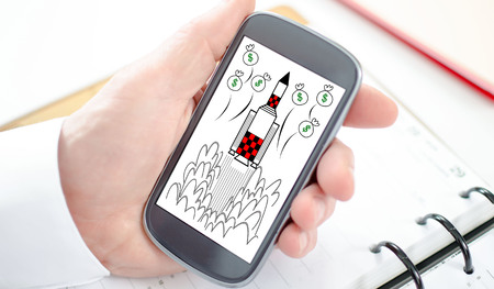 Start up concept shown on a smartphone screen
