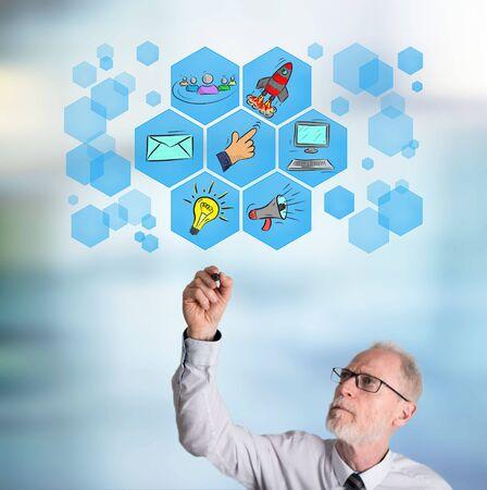 Digital marketing concept drawn by a businessman Stock Photo