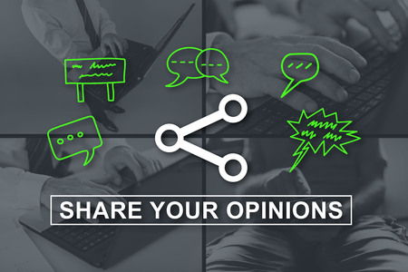 opinions: Opinions sharing concept illustrated by pictures on background Stock Photo