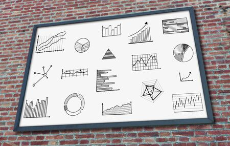 Graphical analysis concept drawn on a billboard fixed on a brick wall
