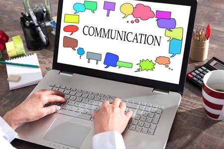 laptop: Communication concept shown on a laptop screen Stock Photo