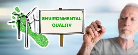 Environmental quality concept drawn by a man