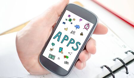 Apps concept shown on a smartphone screen
