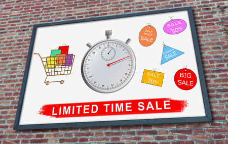 Limited time sale concept drawn on a billboard fixed on a brick wall