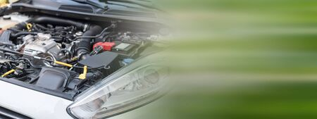 View of clean engine compartment Stock Photo