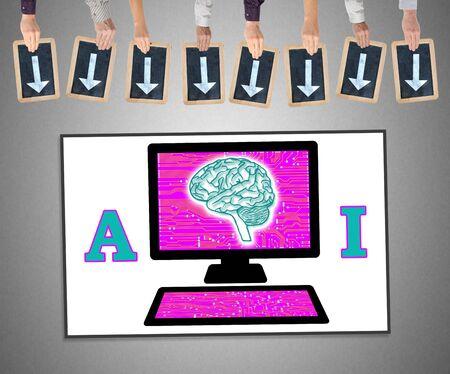 Manos sosteniendo escritura slates con flechas apuntando en concepto de inteligencia artificial Foto de archivo - 81844079