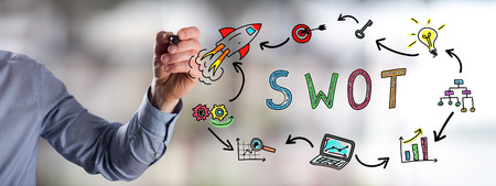 Man drawing a swot concept Stock Photo