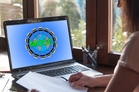 Laptop screen displaying a mooc concept Stock Photo