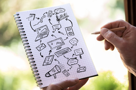Hand drawing communication concept on a notepad