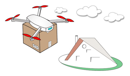 Illustration of a drone delivery concept Stock Photo