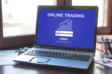Laptop screen displaying an online trading concept