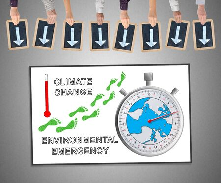 Hands holding writing slates with arrows pointing on global warming concept Stock Photo
