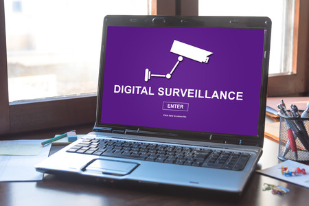 Laptop screen displaying a digital surveillance concept Stock Photo