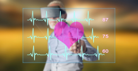 Man wearing a reality virtual headset touching a heart beats graph concept on a touch screen with his finger Banco de Imagens - 89259592
