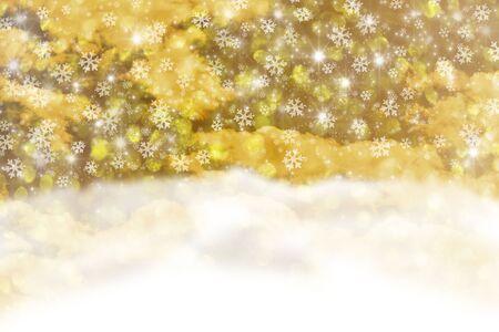 Yellow Christmas background with snowfall