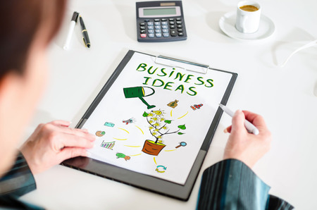 Woman looking at a business ideas concept
