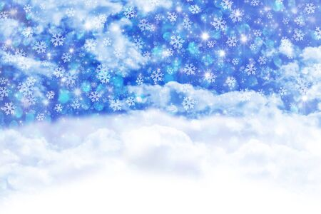Blue Christmas background with snowfall Stock Photo