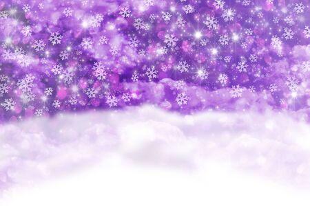 Purple Christmas background with snowfall