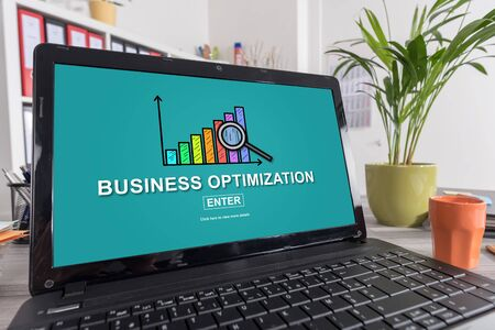 Laptop screen with business optimization concept