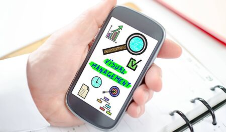 Visual management concept shown on a smartphone screen Stock Photo