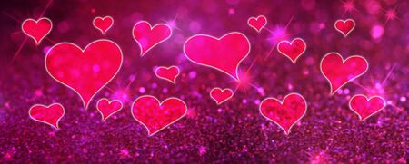 Valentines Day abstract background with hearts, panoramic card Stock Photo