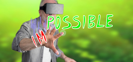 Man wearing a reality virtual headset touching a challenge concept on a touch screen with his finger