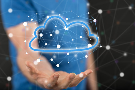 Cloud networking concept above the hand of a man in background