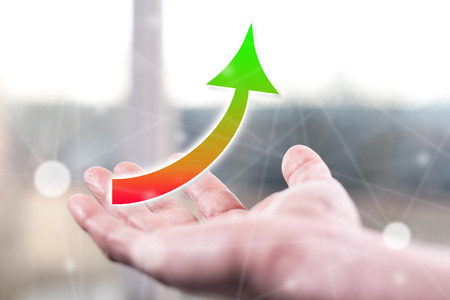 Growth concept above a hand of a man