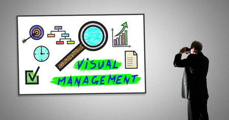 Man looking at visual management concept through binoculars Stock Photo