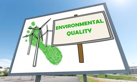 Environmental quality concept drawn on a billboard