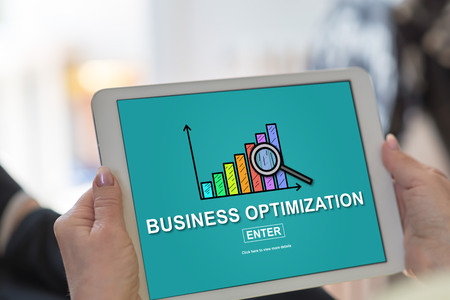 Tablet screen displaying a business optimization concept