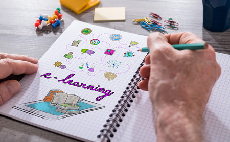 Hand drawing e-learning concept on a notepad