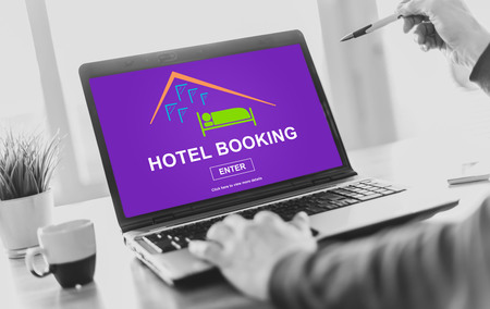 Laptop screen displaying a hotel booking concept