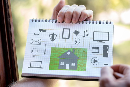 Hand drawing home automation concept on a notepad